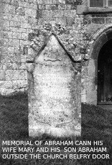 Abraham Cann's Headstone at Colebrooke