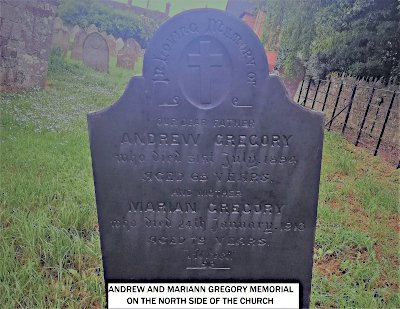 Andrew & Marian Gregory Memorial on the north side of the church